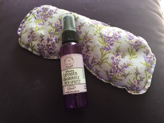 Picture of lavender-chamomile linen spray and eye pillow from The Lavender Farm at Woodstock